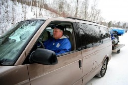 Dave Genz pulling out in his van for a day of ice fishing