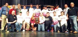 High School team poses for fishing team awards.