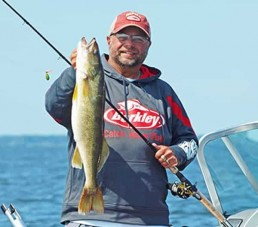 Mark Martin holds a nice walleye caught on a crawler harness fished high in the water column.