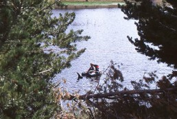 Fishing for northern pike in a tube boat.