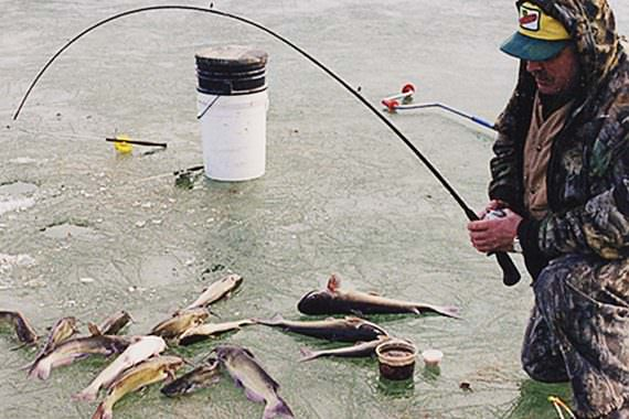 Tapping Iced-over Farm Ponds for Winter Catfish