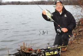 With a slight wave action, the back-up Blitz Crappie Jig with three Crappie Nibbles, drifted and fished with a 'rocking' retrieve, does its fish-catching magic again.