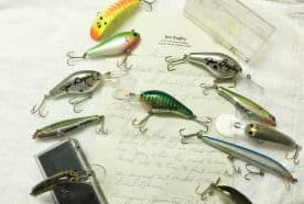 Bagley lures and Jim's letter with descriptions.
