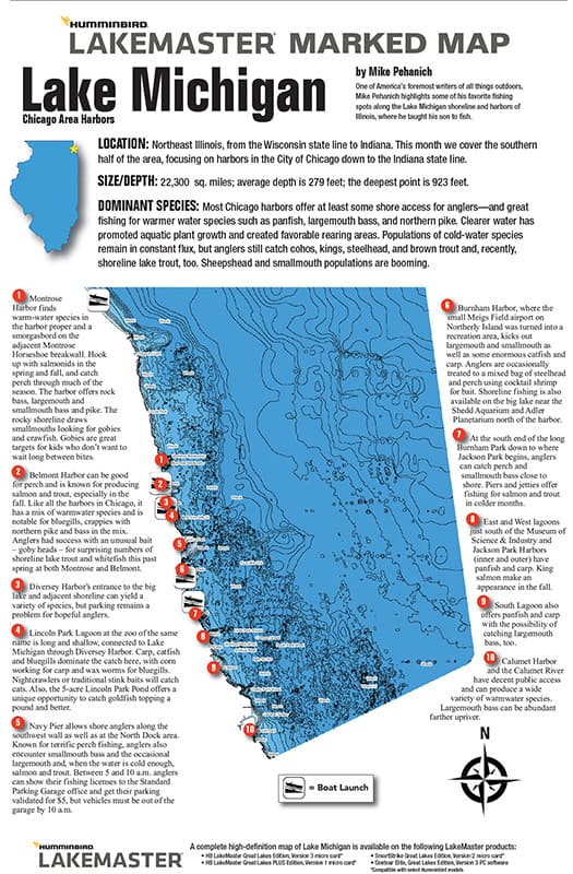 Fishing chicago harbors chicago fishing map midwest for Fishing in chicago