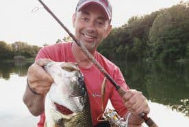 Jim Crowley with a 7-pound largemouth bass caught on a nose-hooked soft jerkbait.