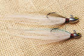 The Do-it Chub Head dressed with sparse bucktail and a little Crystal Flash; less is more when tying on deer tail.