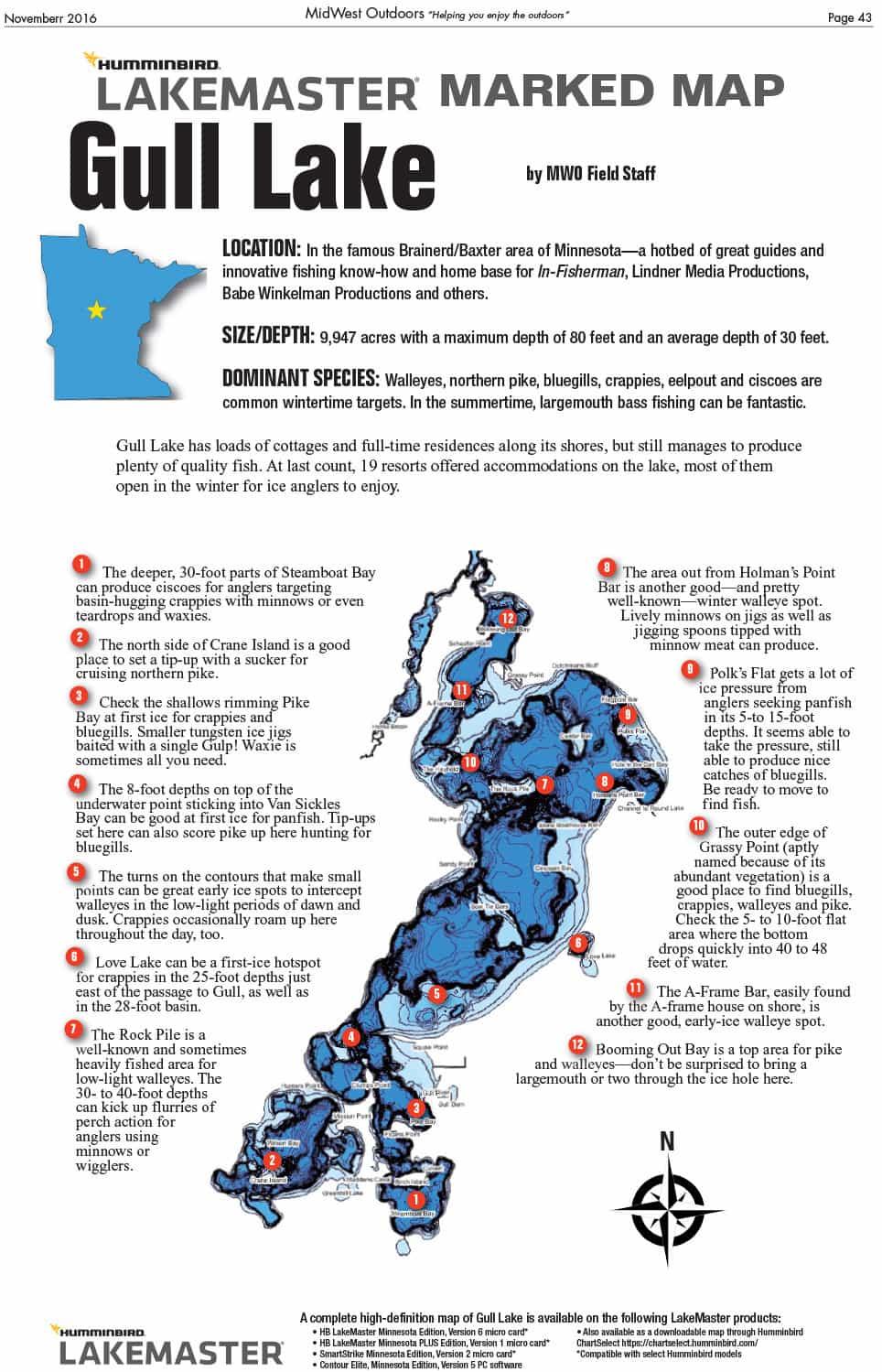 Gull Lake Fishing Map Fishing Gull Lake MidWest Outdoors Lake Maps - Ontario fishing lakes maps