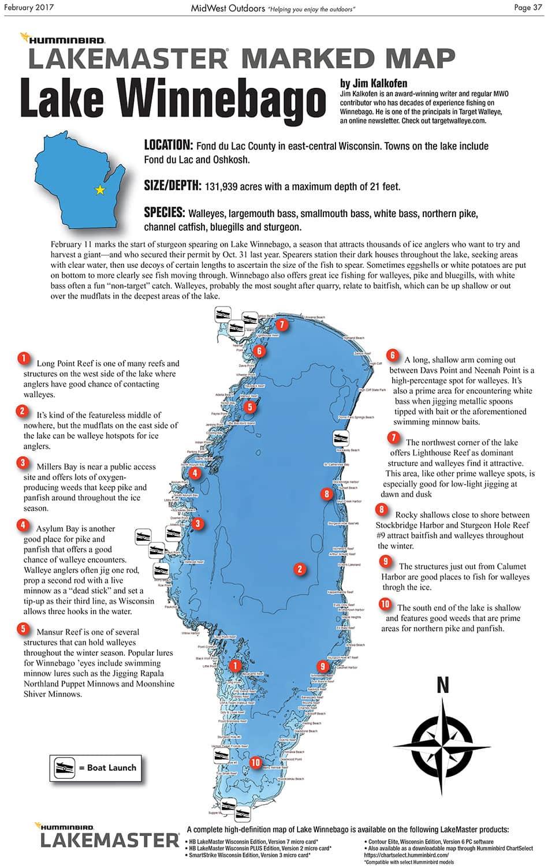 Lake Winnebago Map Lake Winnebago Marked Map   MidWest Outdoors Lake Winnebago Map
