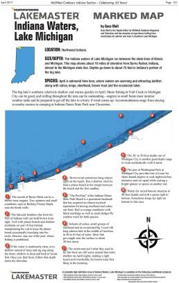 Lake Michigan Indiana Marked Fishing Map
