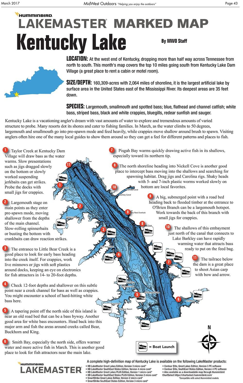 Kentucky Lake Map MidWest Outdoors Marked Fishing Maps - Fishing hotspot maps