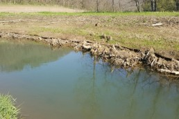 Exposed matting and wood structure from a stream restoration project damaged by erosion in southeast Minnesota.