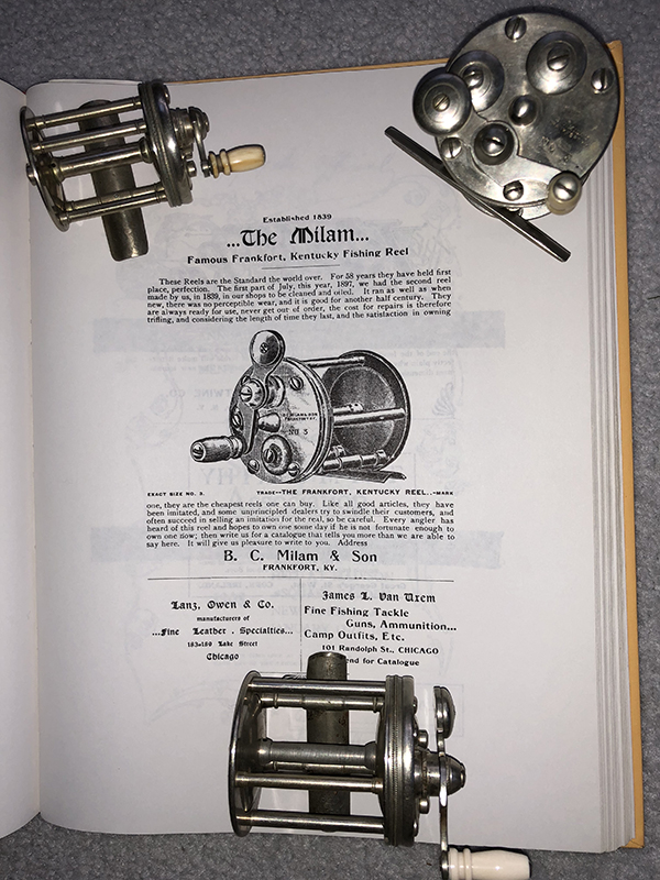 Number 1, 2, and 3 Milam reels lie on an early ad for its reels from two Chicago merchants in 1897.