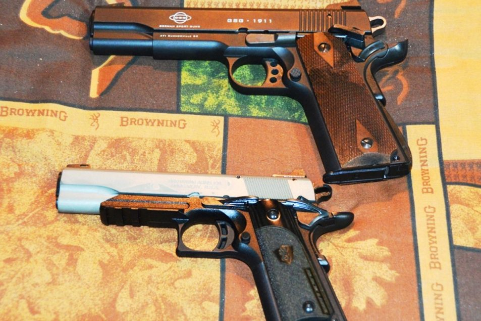 A full-size ATI/GSG M1911 and a Browning 1911-22.