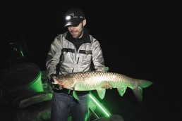 The author with just one of the big grass carp shot on this wintertime outing. Fun fact: two grassies had lampreys attached when we boated them. A bowfishing bonus!