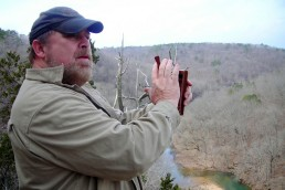 Master turkey hunter Ray Eye with a turkey call.