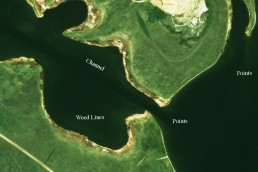 Lake map with satellite imagery.