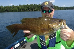 Patience can be important in bass fishing. Seek big bites by fishing methodically. Camping on a high-percentage spot can result in big bites like this 5 1/2-pounder.