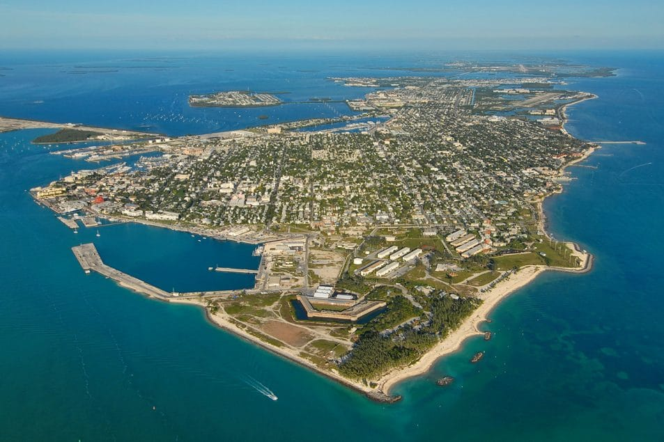 Aerial photo of Key West, Florida, southernmost city in the United States