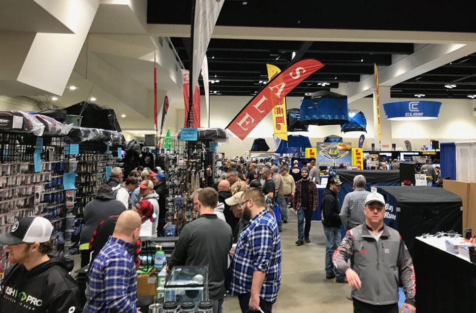 Anglers pack the St Paul Ice Fishing Show floor.
